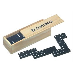 28 Dominosteine in Holzbox Spielsteine 16x4x3cm...