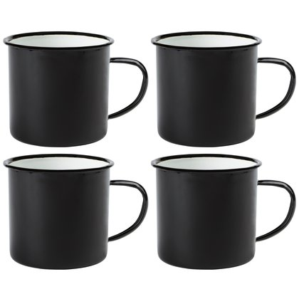 4 x Emaille-Becher Vintage Look 350ml Kaffeetasse Coffee Trinkbecher schwarz