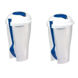 Salat To Go Box 850ML Plastikbecher mit Deckel 2er Set...